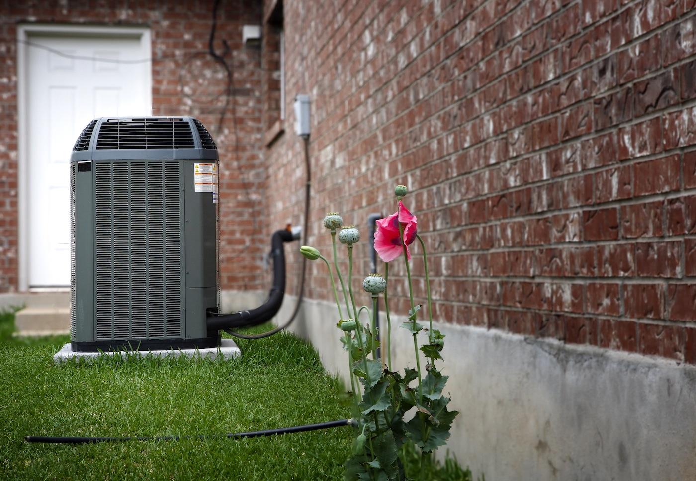 Unité extérieure d'une pompe à chaleur installée dans un jardin