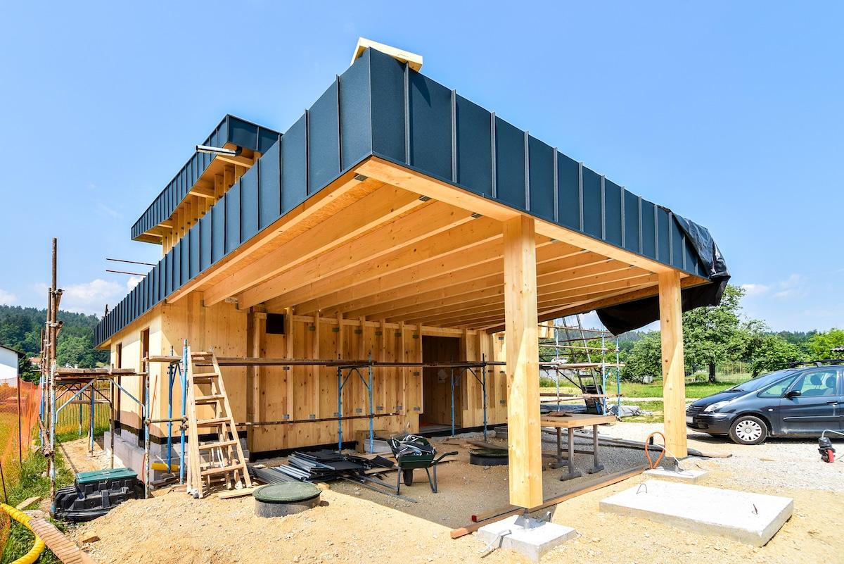 Maison passive à ossature bois en construction